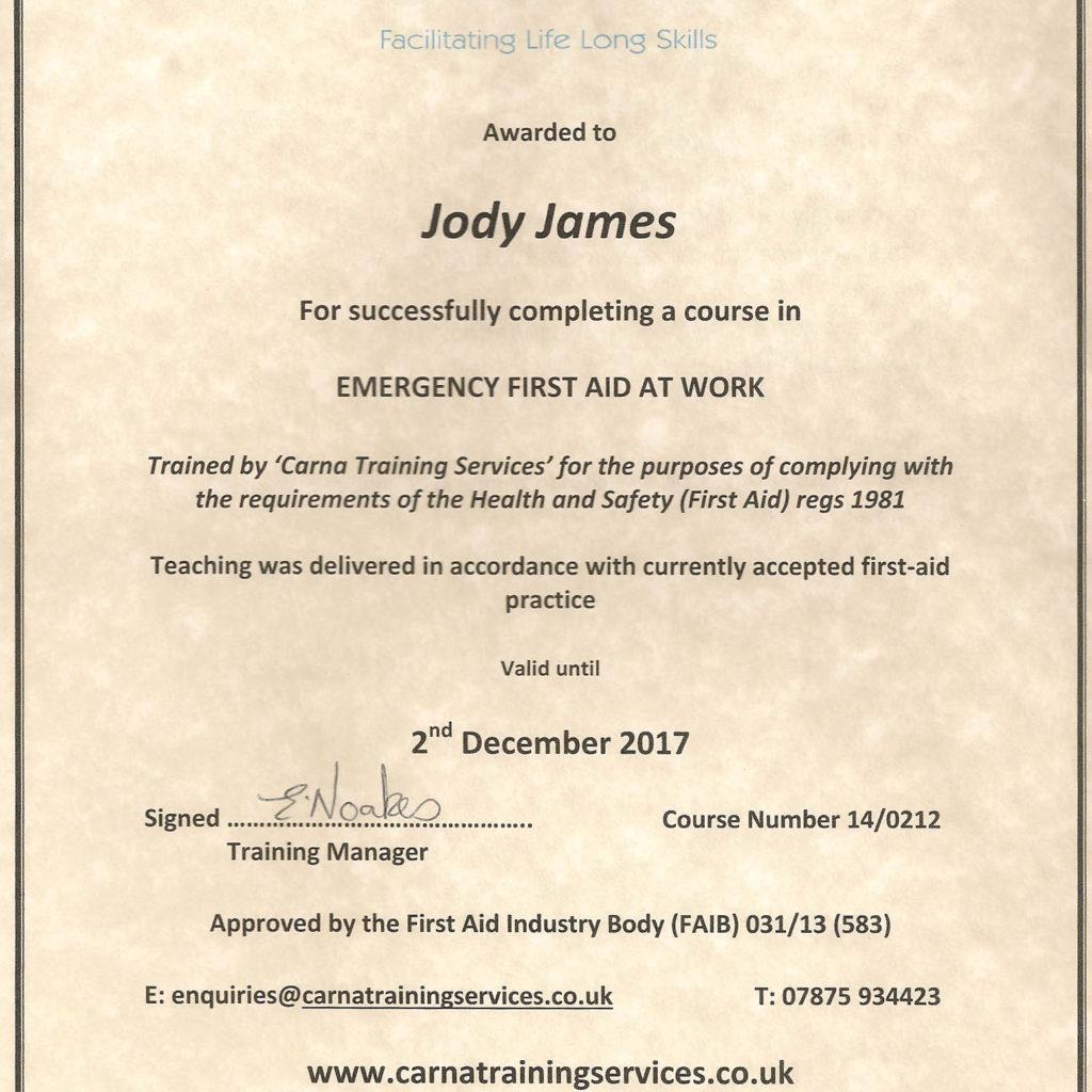 First Aid Certificate JJ 2014 7