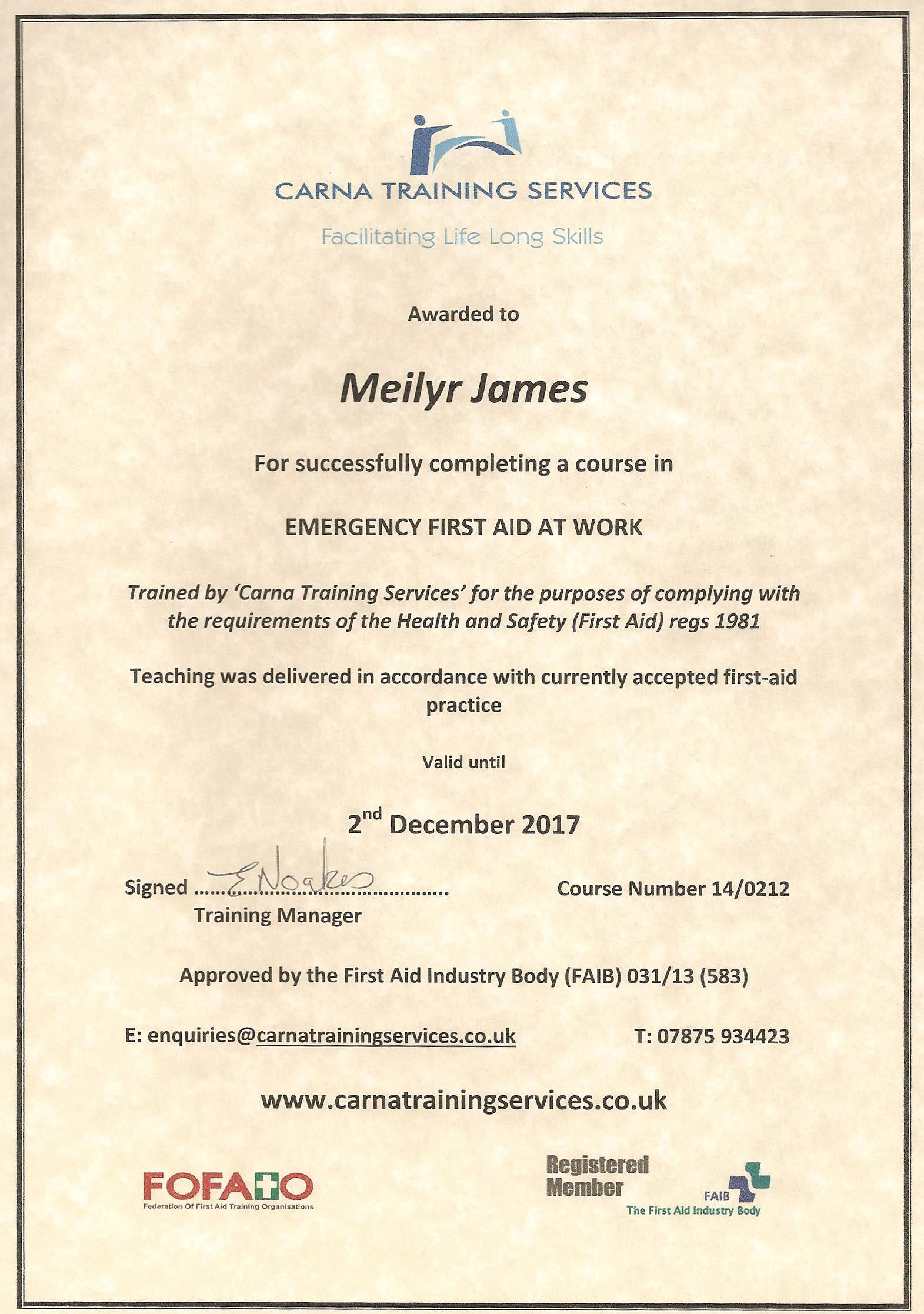 First Aid Certificate Mj 2014 7 Herbal Clinic Swansea