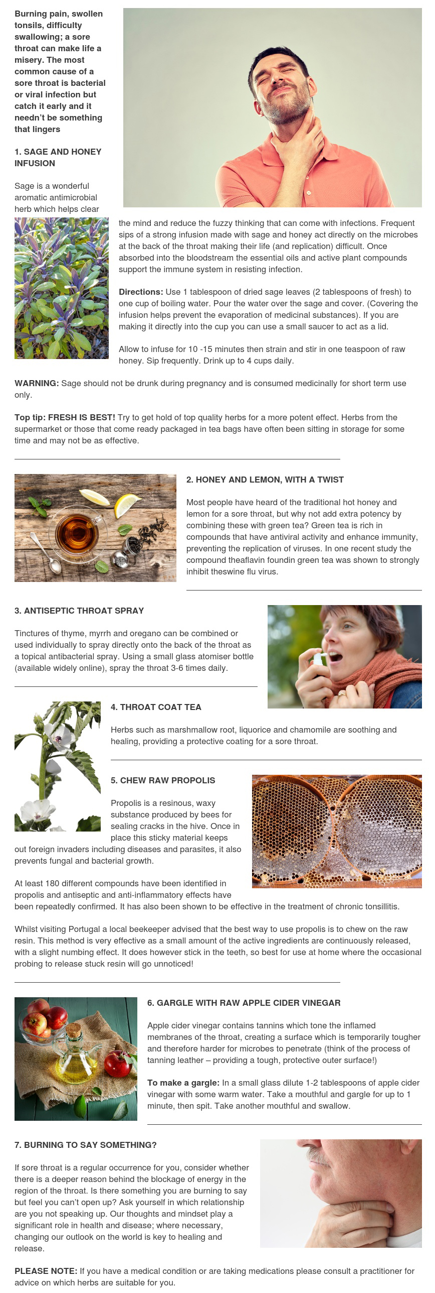 Seven Natural Ways to Soothe a Sore Throat - Herbal Clinic